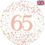 18 inch 65th Birthday White & Rose Gold Fizz Foil Balloon (1)