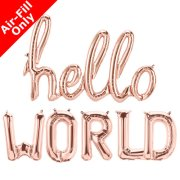 HELLO WORLD - 16 inch Rose Gold Foil Letters & Script Pack (1)