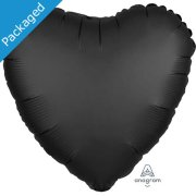 "18"" Onyx Satin Heart Foil Balloon (1)"