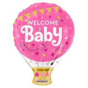 18 inch Welcome Baby Pink Hot Air Balloon Foil Balloon (1)