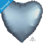 "18"" Steel Blue Satin Heart Foil Balloon (1)"