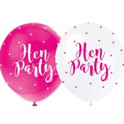 12 inch Hen Party Pink & White Latex Balloons (5)