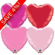 "18"" Mixed Colour Heart Foil Pack (50 Balloons) - UNPACKAGED"