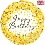 18 inch Gold Sparkle Birthday Holographic Foil Balloon (1)