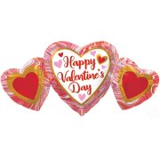 34 inch Valentine's Marble Heart Trio Supershape Foil Balloon(1)