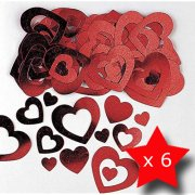Pack of 6 Hearts Die-Cut Red Metallic Confetti