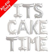 ITS CAKE TIME - 16 inch Silver Foil Letter Balloon Pack (1)