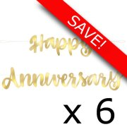 Pack of 6 Happy Anniversary Gold Script Banner - 1.82m
