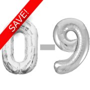 34 inch Unique Silver Numbers Starter Kit - 36 Balloons