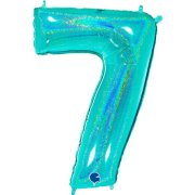 40 inch Holo Glitter Tiffany Blue Number 7 Foil Balloon (1)