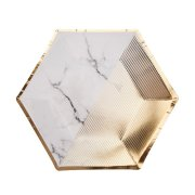 Medium Scripted Marble Paper Plates (8)