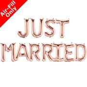 JUST MARRIED - 16 inch Rose Gold Foil Letter Balloon Pack (1)