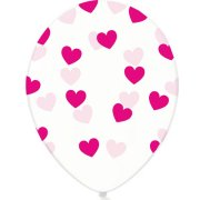 12 inch Fuchsia Heart Crystal Clear Latex Balloons (50)