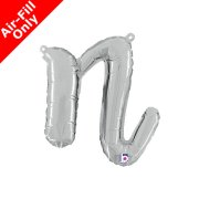 Air-Fill Silver Script Letter N Foil Balloon (1)