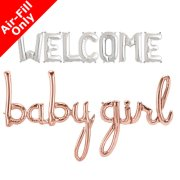 WELCOME BABY GIRL - 16 inch Silver & Rose Gold Script Pack (1)