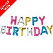 HAPPY BIRTHDAY - 16 inch Multicolour Foil Letter Balloon Kit (1)