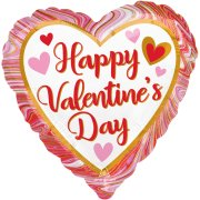 18 inch Happy Valentine's Day Marbled Foil Balloon (1)