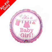 9 inch It's A Baby Girl Foil Balloon (1) - UNPACKAGED