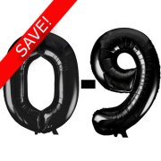 34 inch Unique Black Numbers Starter Kit - 36 Balloons