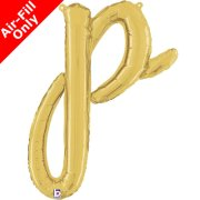 Air-Fill Gold Script Letter P Foil Balloon (1)