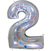 40 inch Holo Glitter Silver Number 2 Foil Balloon (1)