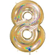 40 inch Holo Glitter Gold Number 8 Foil Balloon (1)