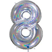 40 inch Holo Glitter Silver Number 8 Foil Balloon (1)
