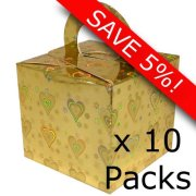 Gold Holographic Heart Cardboard Box Weights - 10 Packs of 10