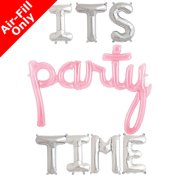 IT'S PARTY TIME - 16 inch Silver Letters & Pink Script Pack (1)