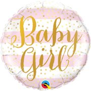 18 inch Baby Girl Pink Stripes Foil Balloon (1)