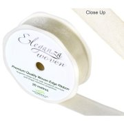 Ivory Woven Edge Ribbon - 25mm x 20m (1)