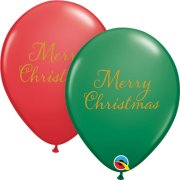 11 inch Simply Merry Christmas Red & Green Latex Balloons (25)