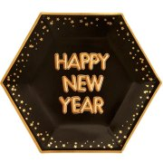 Glitz & Glamour Happy New Year Black Hexagon Paper Plates (8)