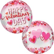 16 inch Orbz Valentine's Pink & Red Hearts Foil Balloon (1)