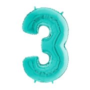 26 inch Tiffany Blue Number 3 Foil Balloon (1)