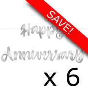 Pack of 6 Happy Anniversary Silver Script Banner - 1.82m