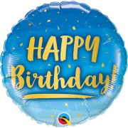 18 inch Birthday Gold & Blue Ombre Foil Balloon (1)