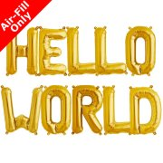 HELLO WORLD - 16 inch Gold Foil Letter Balloon Pack (1)