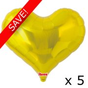 "Pack of 5 25"" Gold Heart Jelly Foil Balloon (5)"