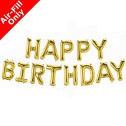 HAPPY BIRTHDAY - 16 inch Gold Foil Letter Balloon Kit (1)