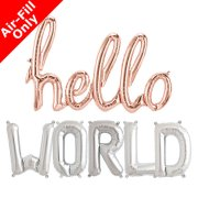 HELLO WORLD - 16 inch Silver Foil Letter & Rose Gold Script Pack