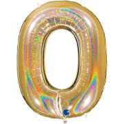 40 inch Holo Glitter Gold Number 0 Foil Balloon (1)