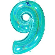 40 inch Holo Glitter Tiffany Blue Number 9 Foil Balloon (1)