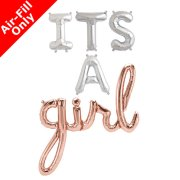 IT'S A GIRL - 16 inch Silver Letters & Rose Gold Script Pack (1)