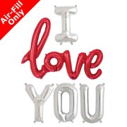 I LOVE YOU - 16 inch Silver Foil Letters & Red Script Pack (1)