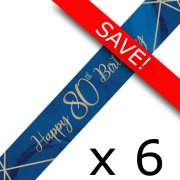 Pack of 6 80th Birthday Navy & Gold Geode Foil Banner - 9ft.