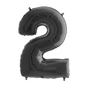 26 inch Black Number 2 Foil Balloon (1)