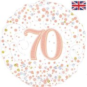 18 inch 70th Birthday White & Rose Gold Fizz Foil Balloon (1)