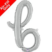 Air-Fill Silver Script Letter B Foil Balloon (1)