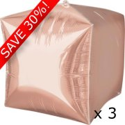 Pack of 3 15 inch Cubez Rose Gold Foil Balloons (3)